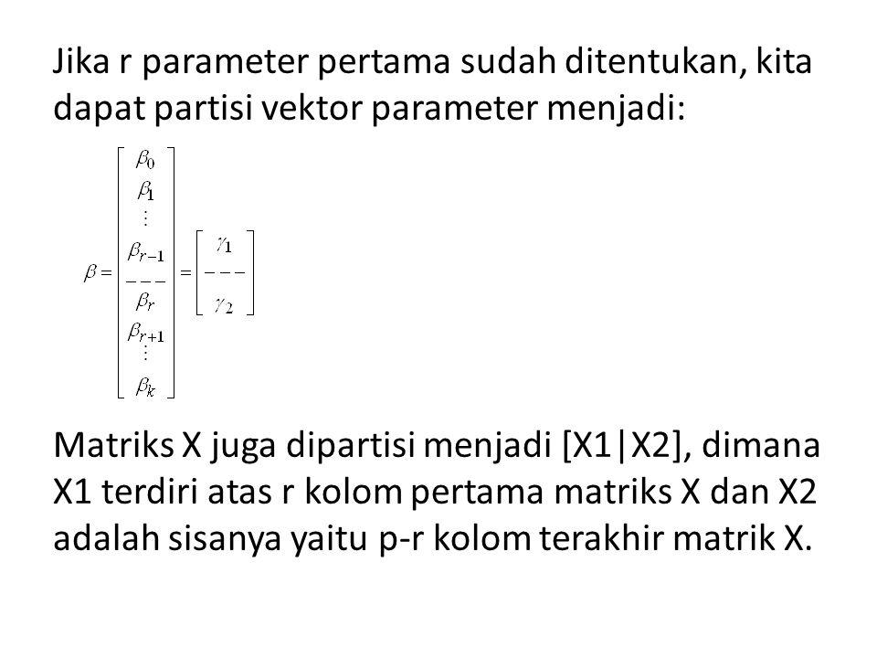 Jika r parameter pertama sudah ditentukan, kita dapat partisi vektor parameter menjadi: Matriks X juga dipartisi menjadi [X1|X2], dimana X1 terdiri atas r kolom pertama matriks X dan X2 adalah sisanya yaitu p-r kolom terakhir matrik X.